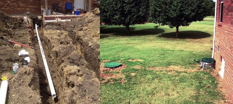 Lawn ,septic tank replacement damage comparison.